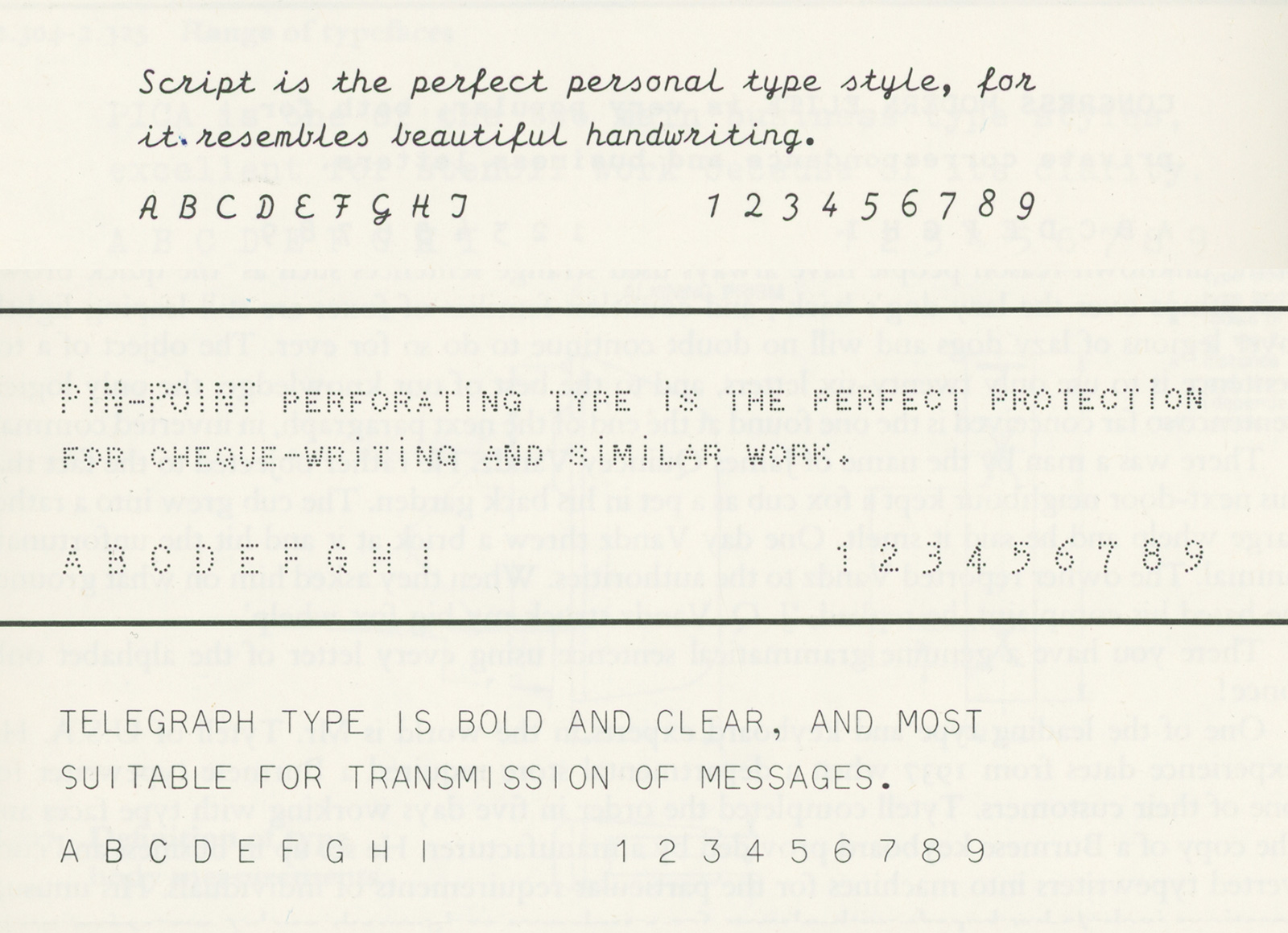 Samples of script, perforating, and shiftless typefaces for typewriters. Source: Beeching, W.A. Century of the typewriter. London: William Heinemann Ltd, 1974, 80-81.