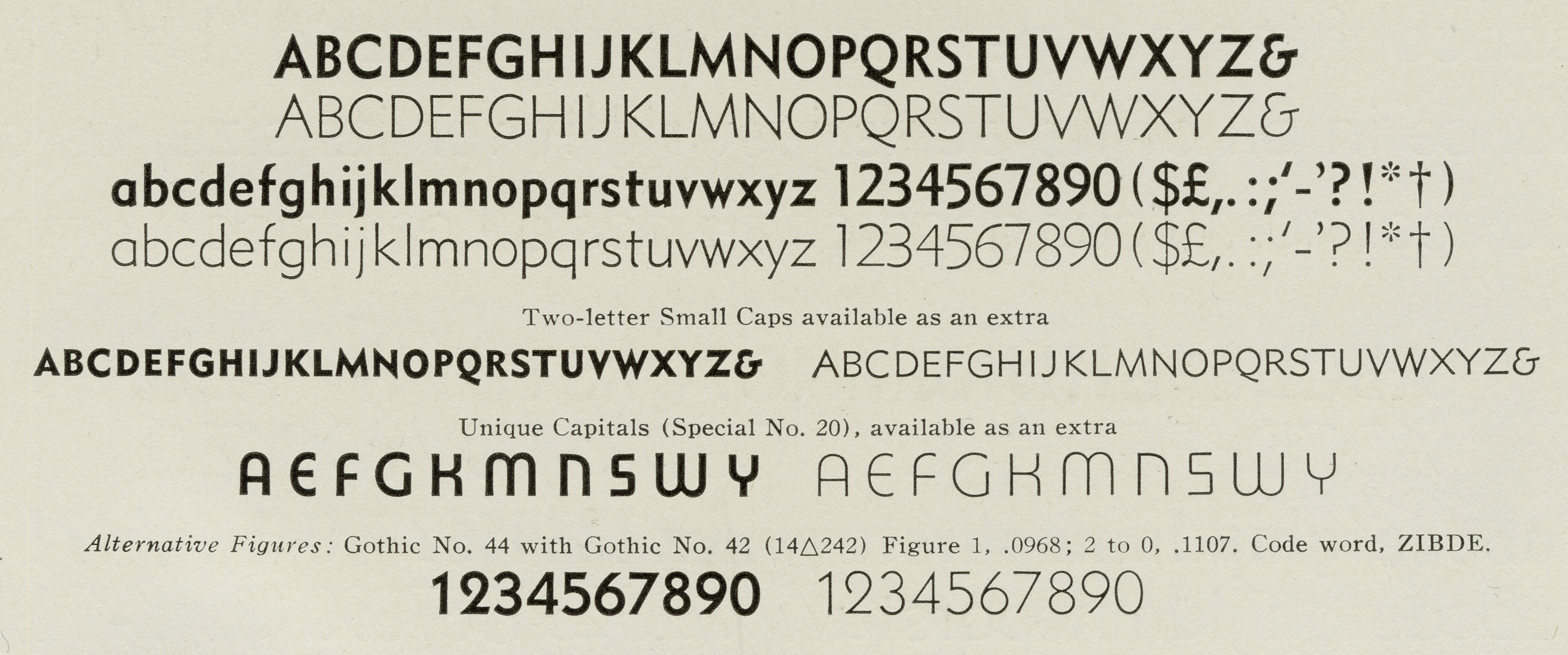 Metro No. 2 alt caps and figures in <cite>Linotype Faces</cite>, circa 1939. (Scan: Kent Lew)