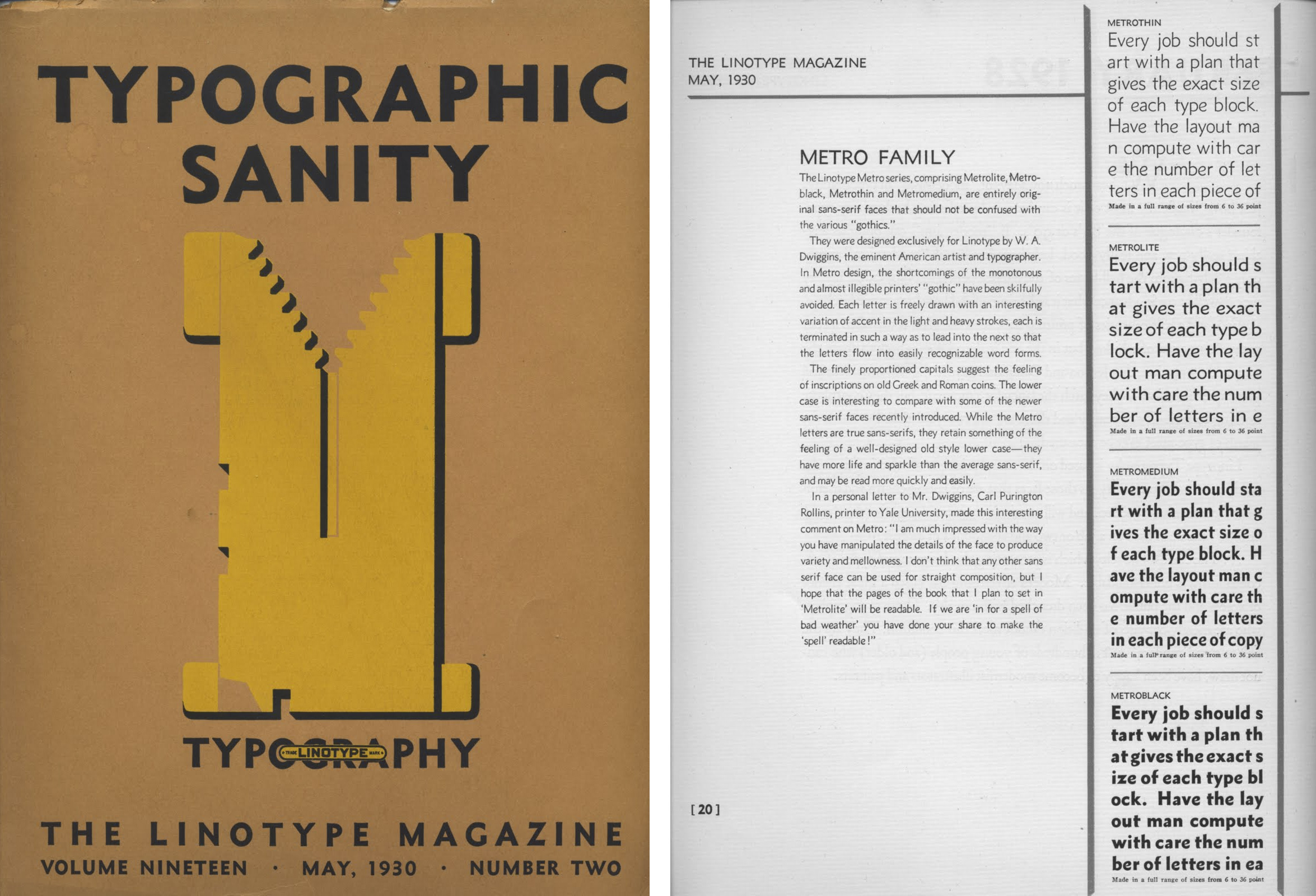 """Typographic Sanity"", The Linotype Magazine, May 1930"