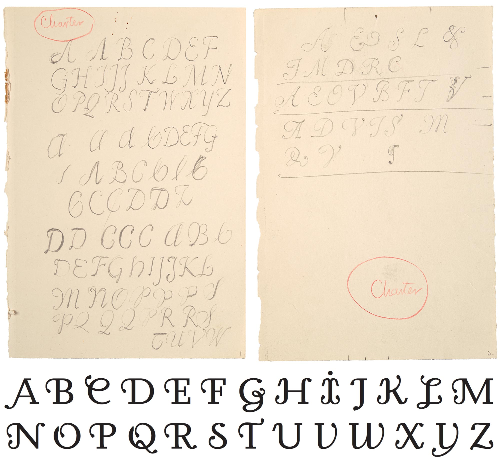 Dwiggins' sketches for Charter initial caps (BPL collection); Sybille Hagmann's Odile (Kontour, 2006)