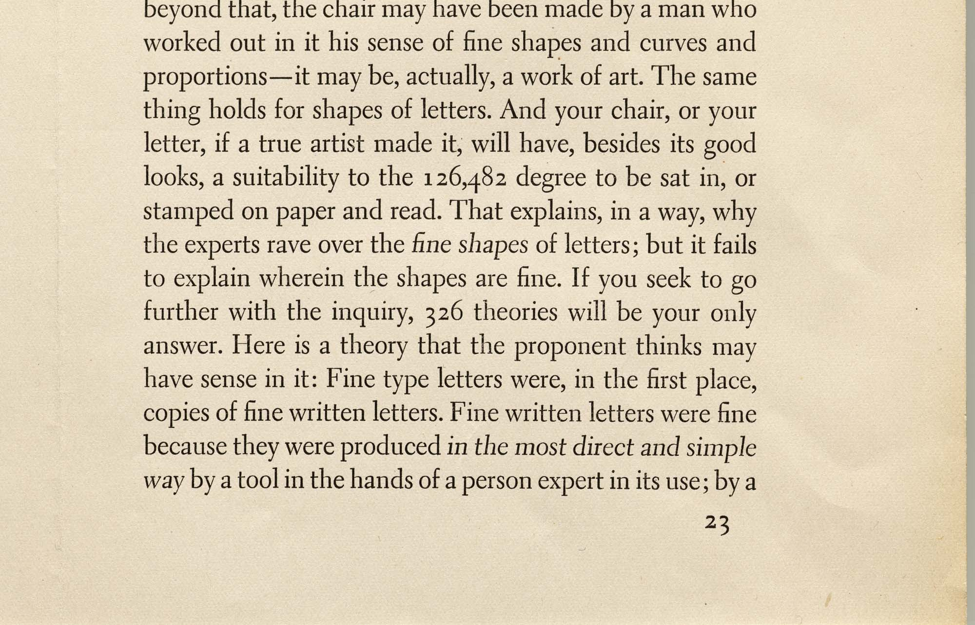 Sample of Dwiggins' Electra in its original metal form, Linotype, 1935