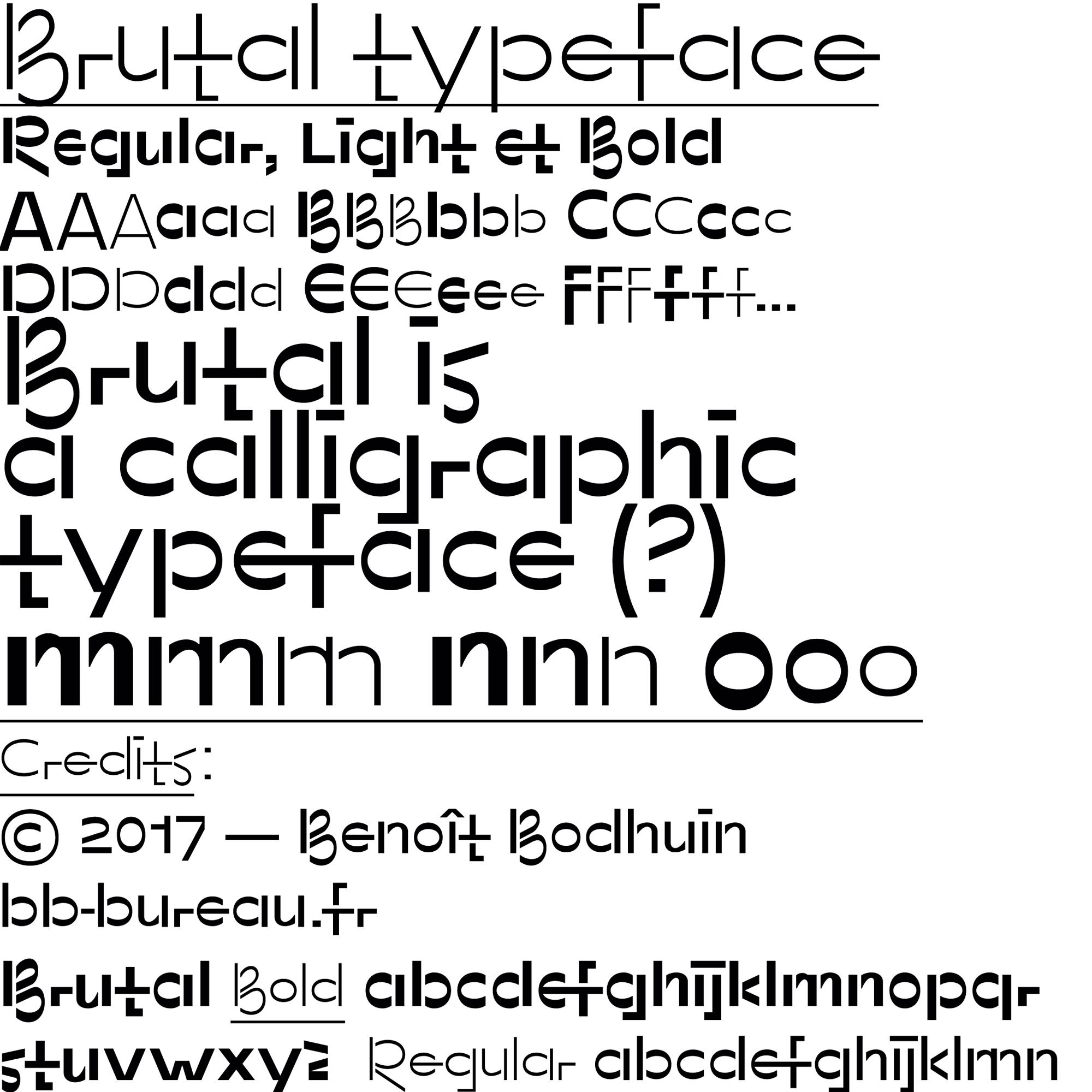 Brutal typeface specimen