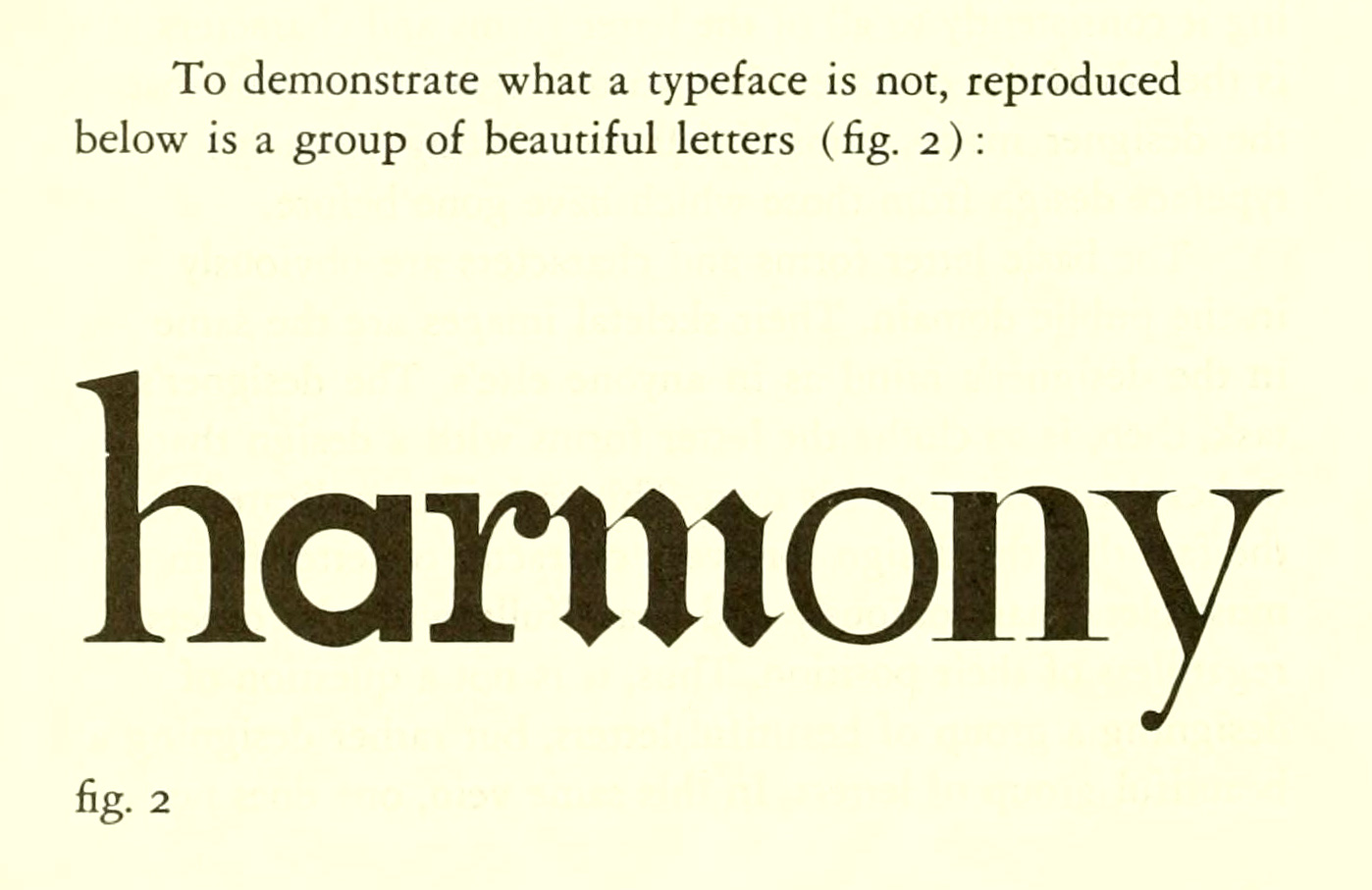 "Image labeled ""To demonstrate what a typeface is not, reproduced below is a group of beautiful letters"""