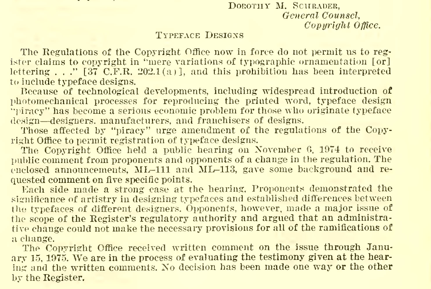 """Image from a page of the testimony: """"Topic introduction from Dorothy Schrader, General Council, Copyright Office"""""""
