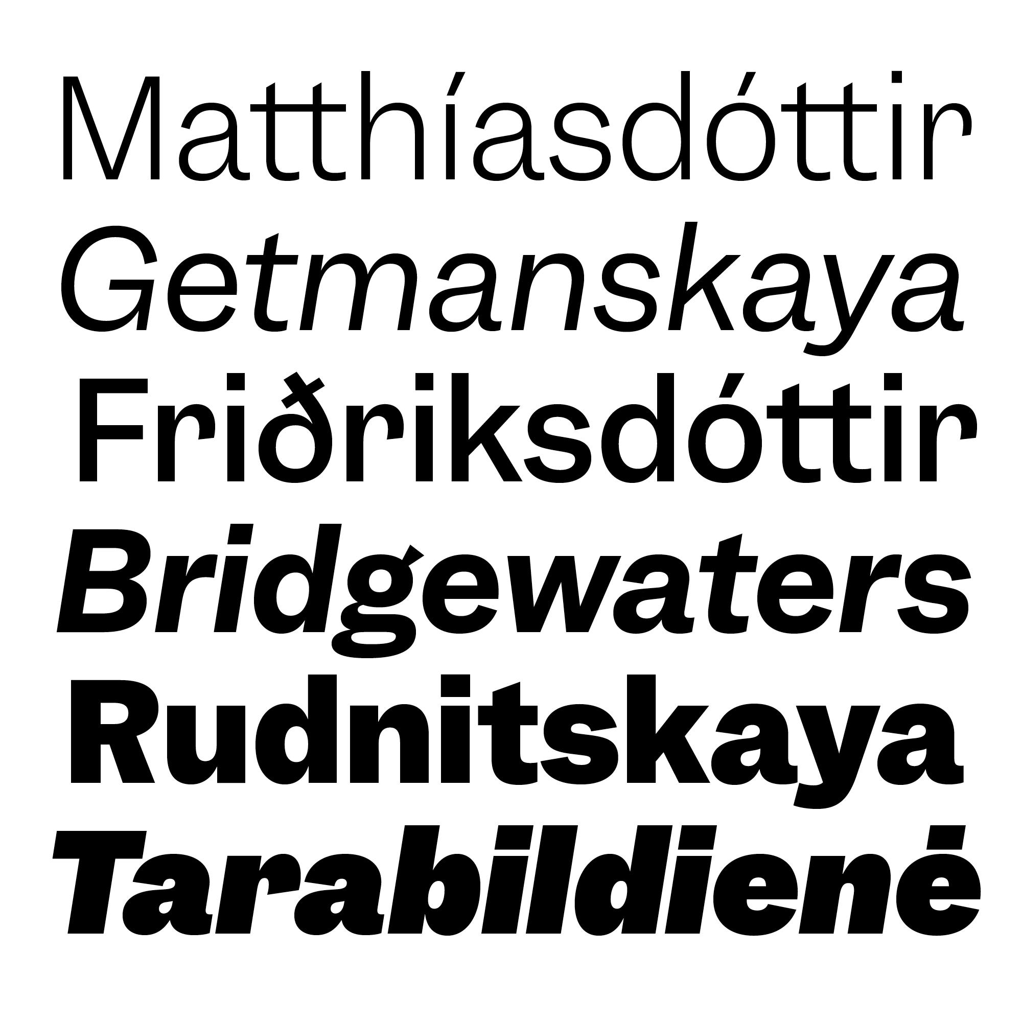 Garnett fonts specimen