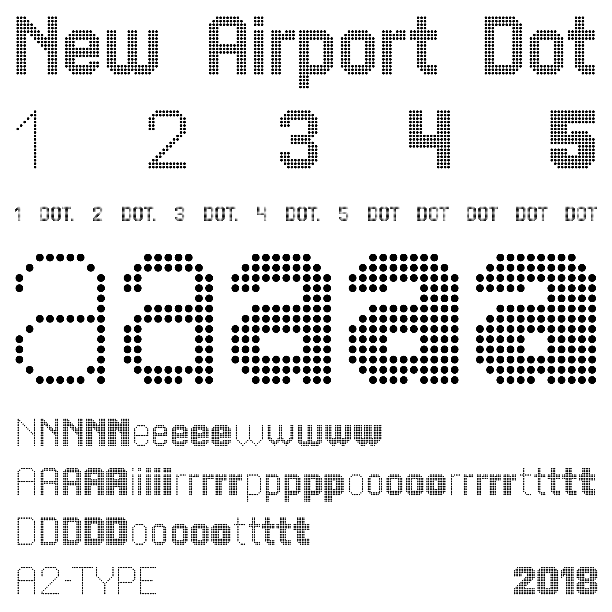 New Airport Dot fonts specimen