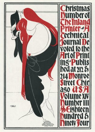 "The cover for the Christmas 1894 Inland Printer, as reproduced in ""Will Bradley: His Graphic Art."""