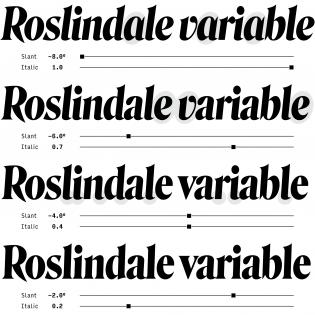 Roslindale Variable Italic variations