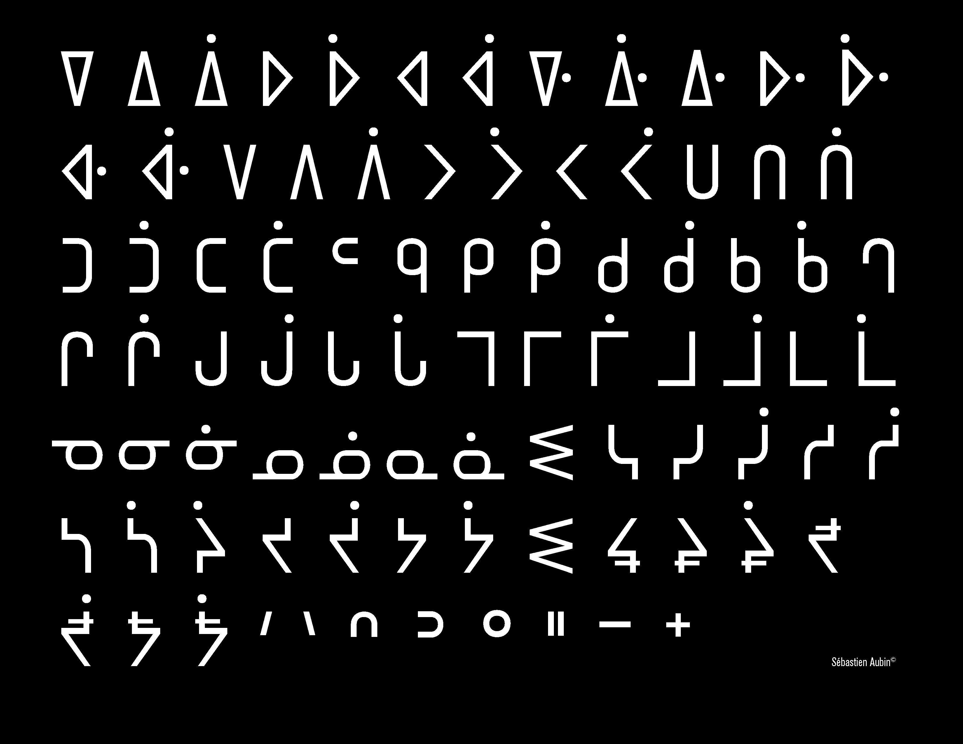 Character set for Baha, a monospaced Cree typeface designed by Sébastien Aubin.