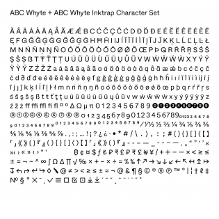 Whyte complete character set