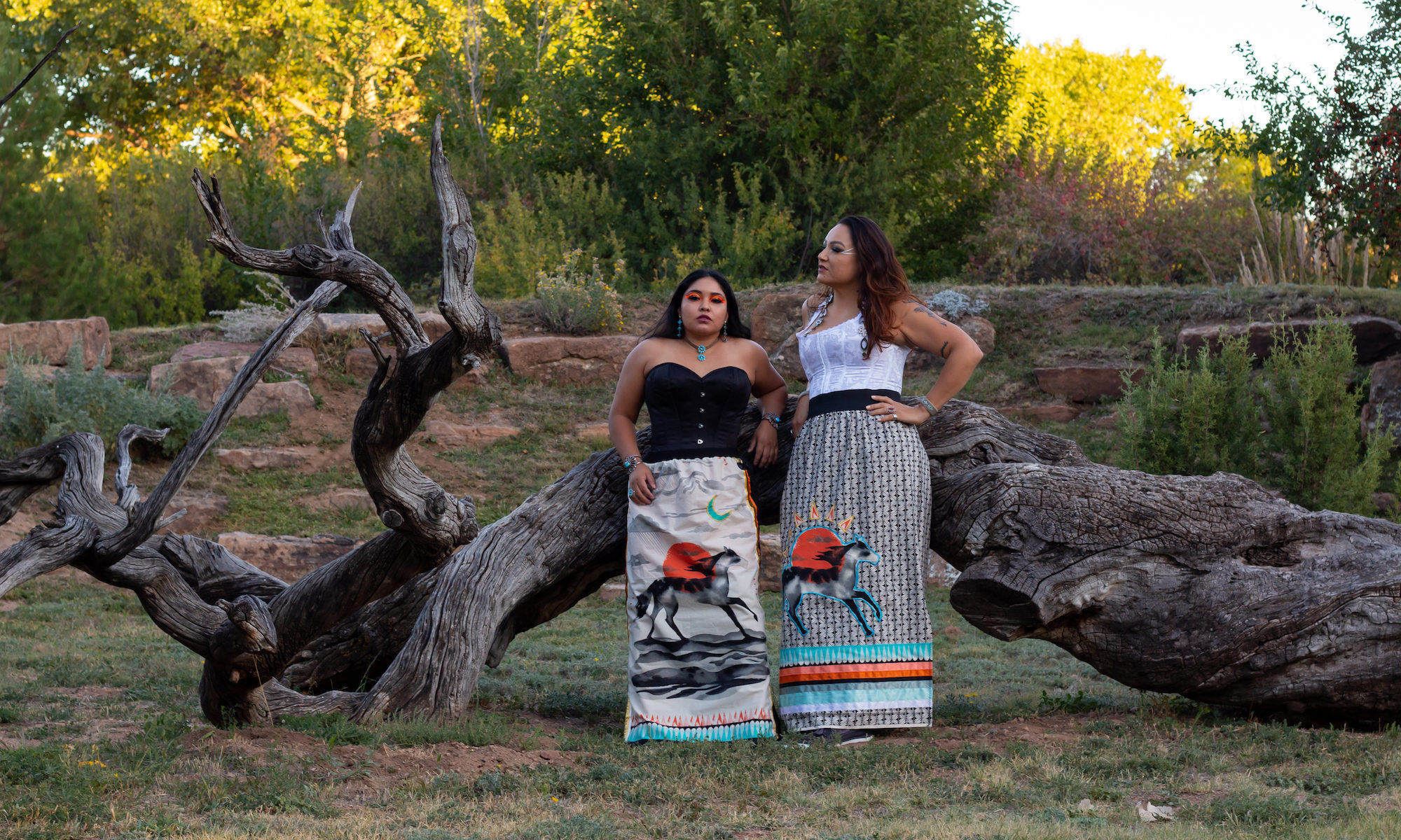 Photo shoot by Neebin Studios for Kawe Rezilience. Models and co-owners: Monica (Diné) and Felicia (Anishinaabe).
