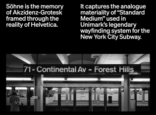 Photo of a subway stop in Queens, New York, with signage set in Standard. Söhne captures the materiality of Standard Medium, formerly used in Unimark's wayfinding system for the Metropolitan Transit Authority.