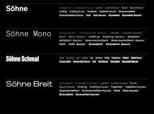 The Söhne Collection's four families: Söhne, Söhne Mono, Söhne Schmal, Söhne Breit.