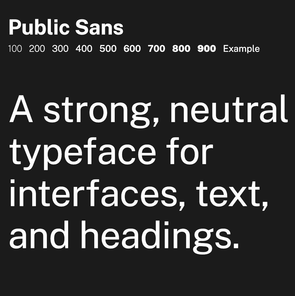 Public Sans fonts specimen