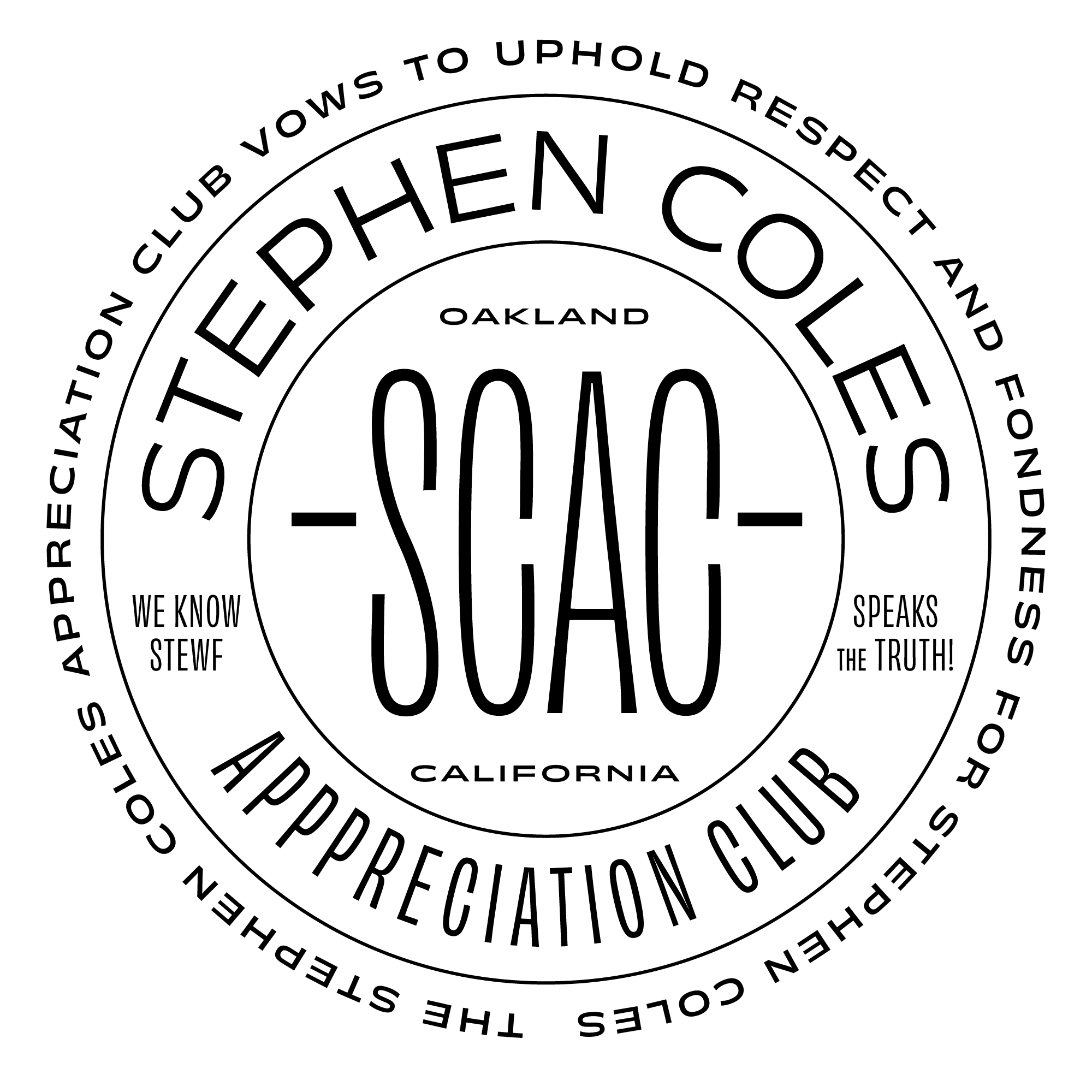 Graphic by James Edmondson paying homage to Stephen Coles: a round graphic that says SCAC, or Stephen Coles Appreciation Club.