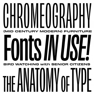 Type specimen for Obviously, designed by James Edmondson of OH no Type Company (not Stephen Coles).