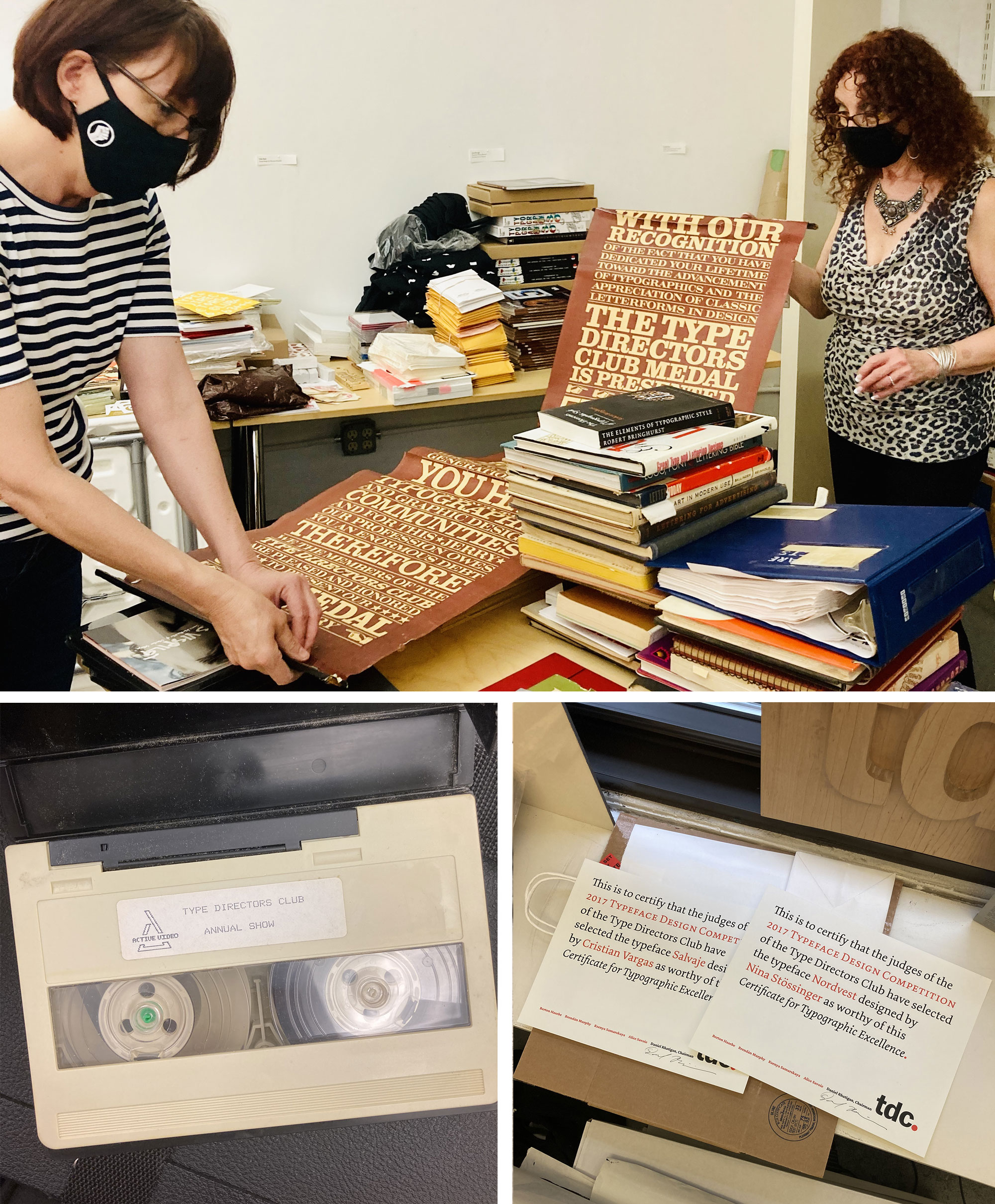 Photos of the TDC archives and staff preparing them for a move