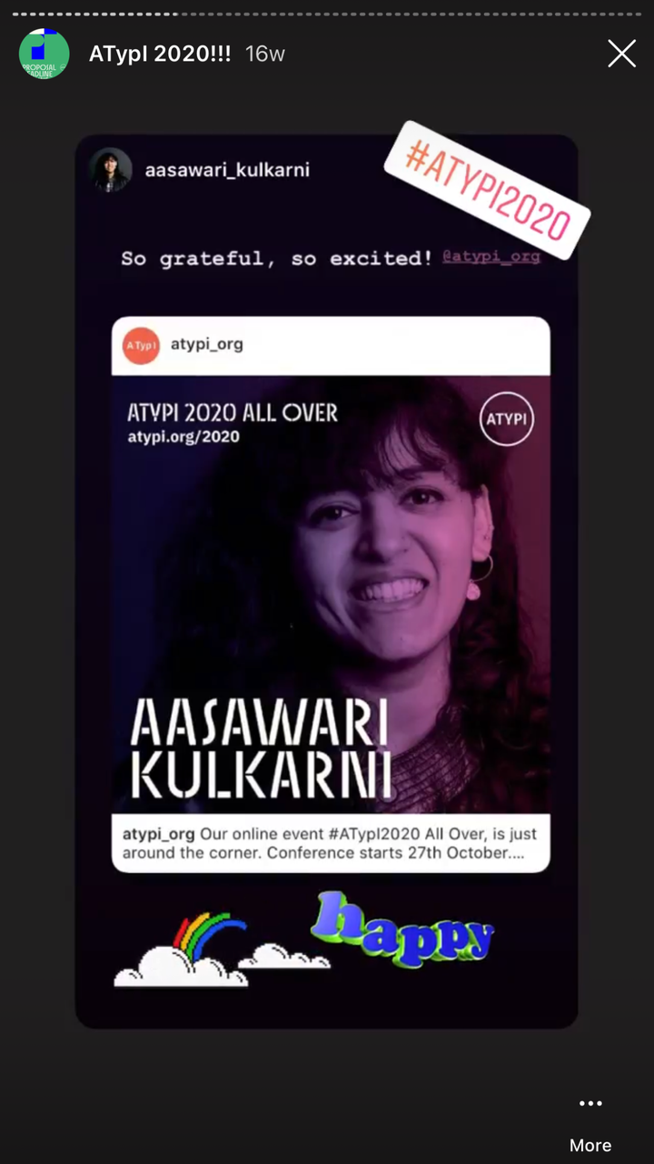 An Instagram story from Aasawari Kulkarni, one of the presenters at ATypI 2020.