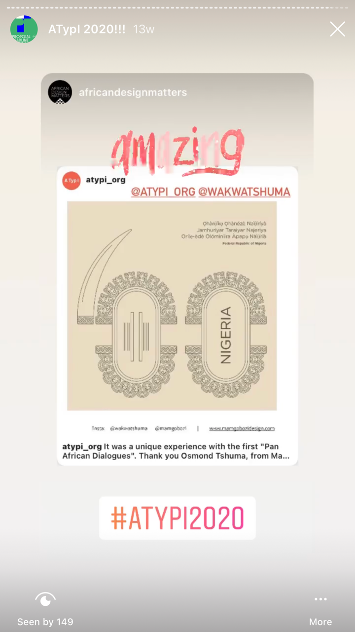 """An Instagram story from African Design Matters, one of the ATypI 2020 """"Pan Afrikan Dialogues"""" panelists."""