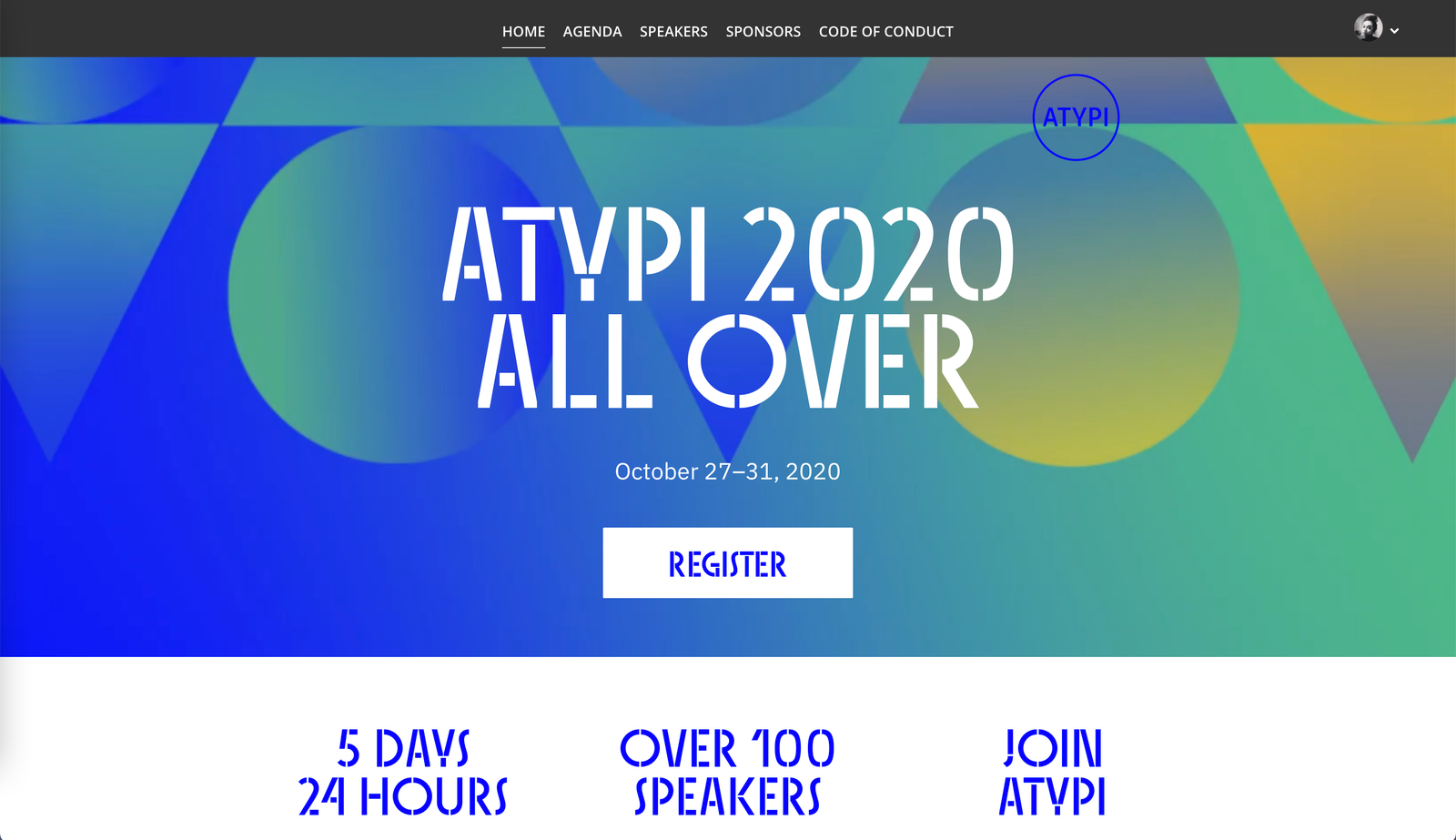 Screenshot of the ATypI 2020 website.