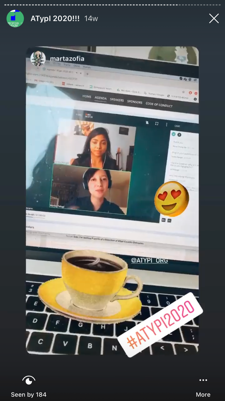 An Instagram story from Marta Zofia, an ATypI 2020 conference attendee.