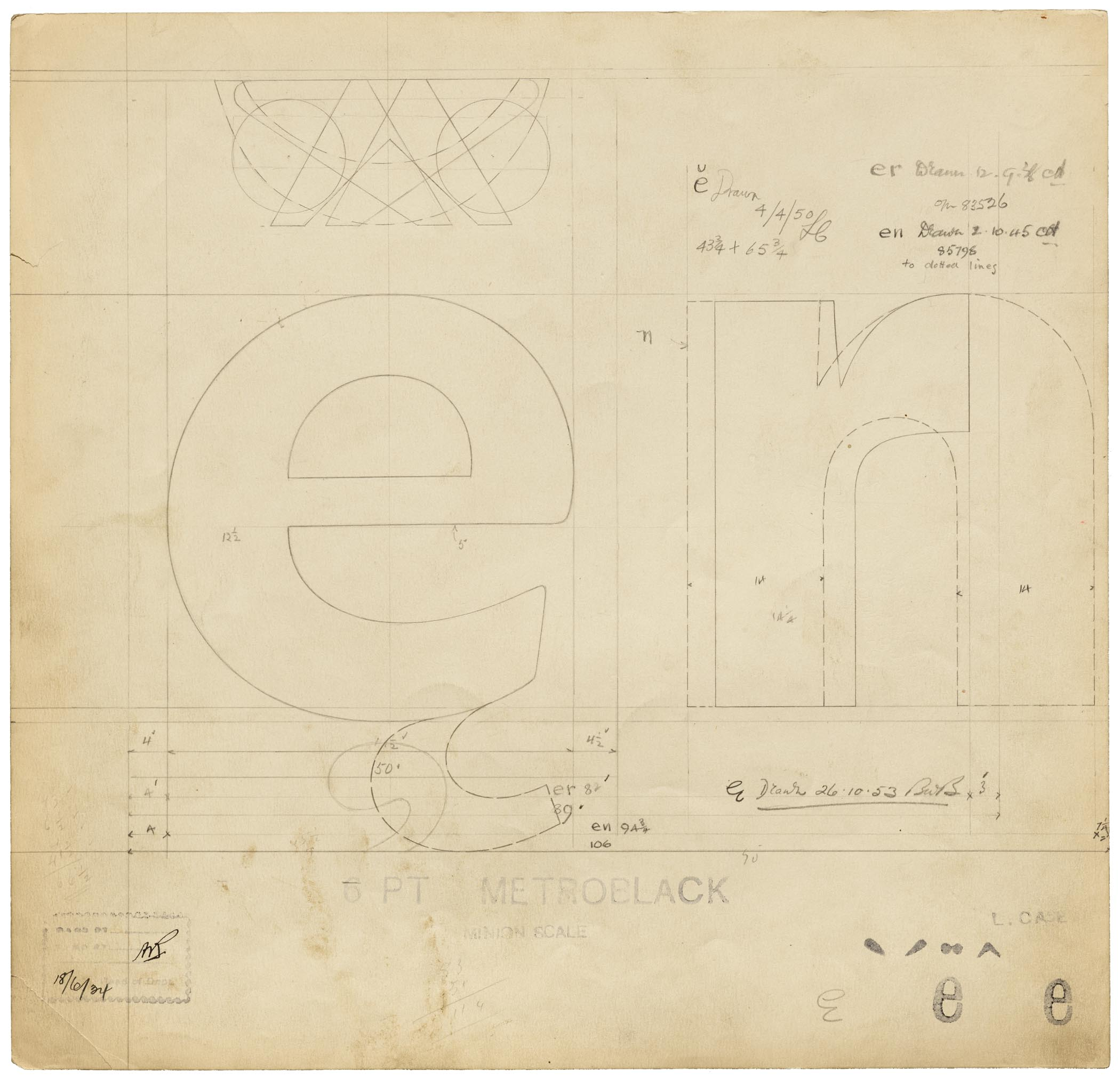 Drawing for Metroblack 'e', 'n', 'r', at 6 pt., Linotype & Machinery, Manchester, 1934.