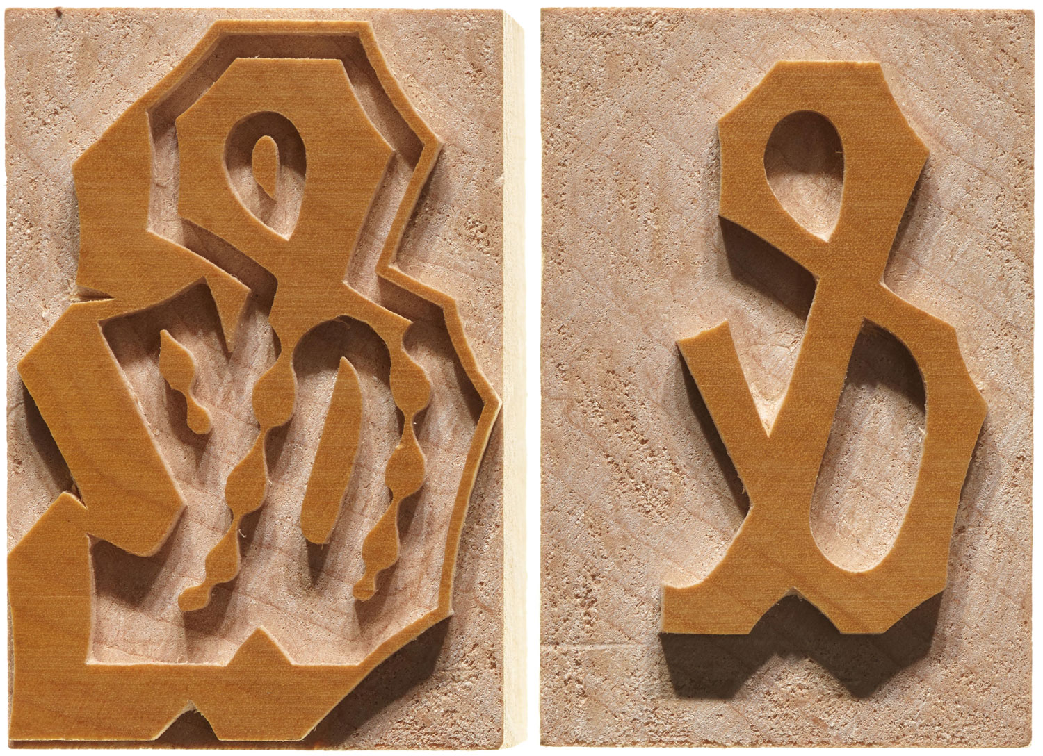 Virgin Wood Type, Ampersand outline and fill for 12-line Chromatic Ornate.